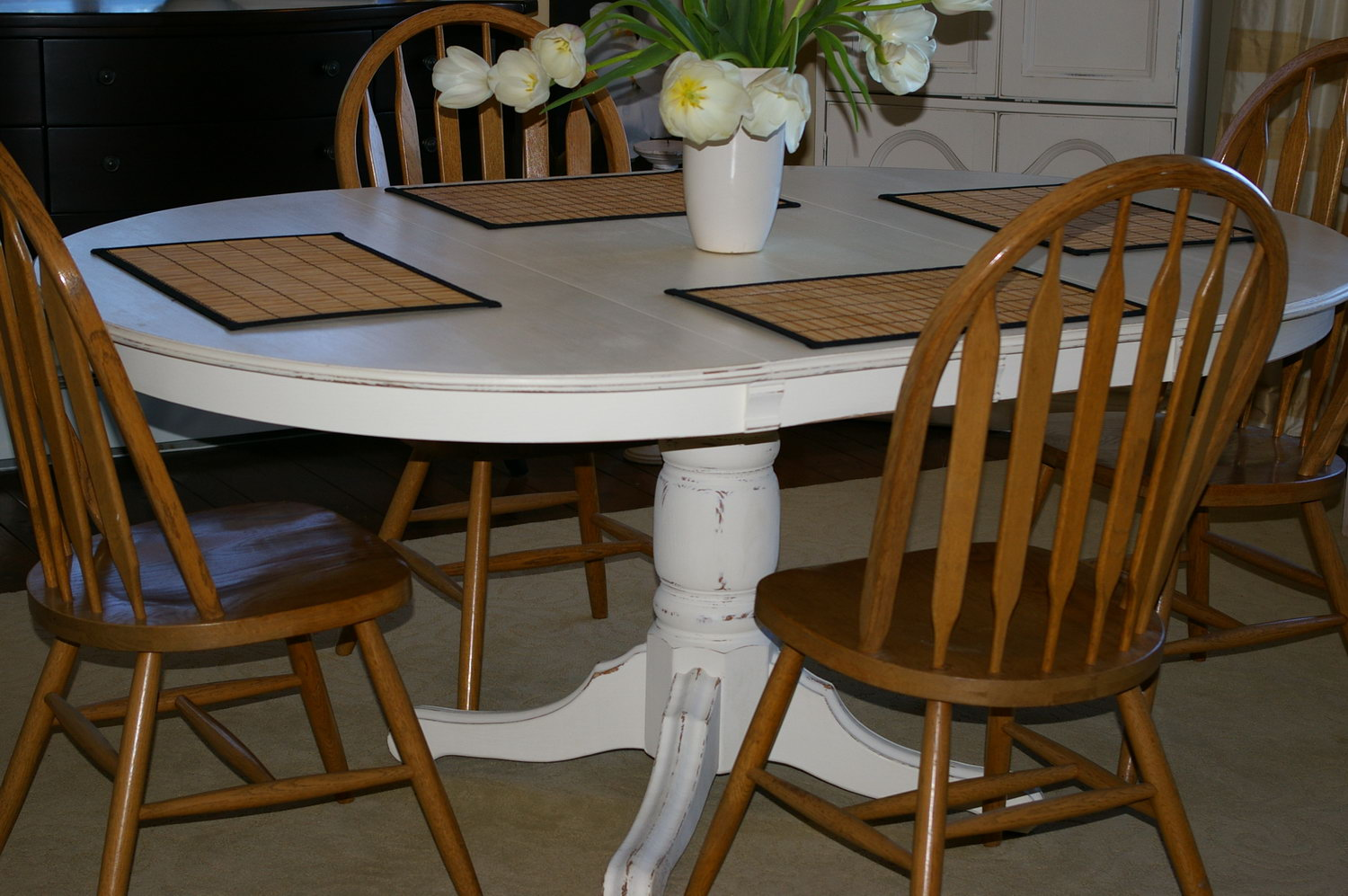 Painting oak pedestal table images for Painted dining table